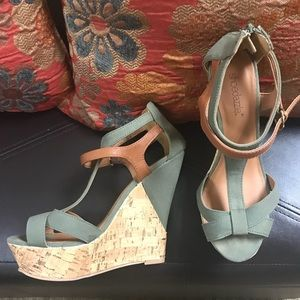 Khaki green and tan wedge heels from Shoedazzle.